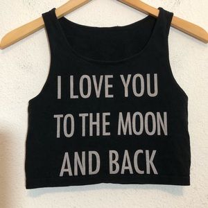 Love You To The Moon Crop Top Tank